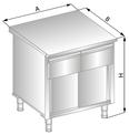 Stanowisko szafkowe z szufladami pod blatem i drzwiami suwanymi DM-94503-E