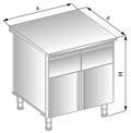 Stanowisko szafkowe z szufladami pod blatem i drzwiami zawiasowymi DM-94504-E